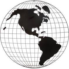 28 inch Diameter Black Metal World Globe Wall Art, White
