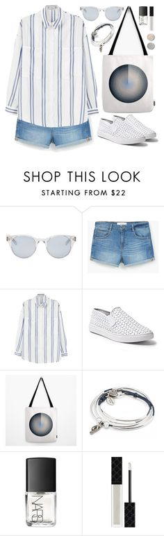 """OOTD - Denim Shorts"" by by-jwp ❤ liked on Polyvore featuring Terre Mère, Sun Buddies, MANGO, Steve Madden, Lizzy James, NARS Cosmetics and Gucci"