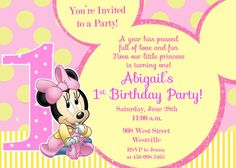 Minnie Mouse eerste verjaardagsuitnodiging door PrettyPaperPixels