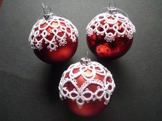 Christmas Bauble Tatted Covers three by AlenAleaDesign on Etsy