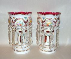 Antique Pair MOSER Cased Glass Overlay Pink Lusters Hndpntd Flowers 8 Prisms