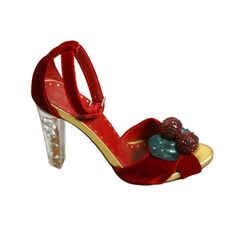 2003 TOM FORD FOR YSL Collector red velvet rhinestone heel sandals size 37   From a collection of rare vintage shoes at http://www.1stdibs.com/fashion/clothing/shoes/