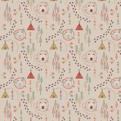 Big Bear Little Bear A101.1 Wigwam woods on milky tea from Lewis & Irene £2 // Juberry Fabrics
