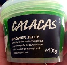 "Calacas Shower Jelly: ""Energizing lime and neroli oils put you in the party mood, while aloe vera is great for leaving the skin soothed and cool"""
