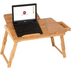 100% Bamboo Adjustable Laptop Desk Table Tilting Top Drawer Breakfast Bed Tray