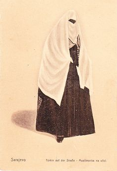 "In Bosnia-Hercegovina the niqab is called ""feredza"". During Ottoman times some Bosnian women used to wear them, my grandmothers sister was among those who wore it, before communism banned it.    Under this picture it says in German ""Turk in the Street"" but in Bosnian ""Muslim in the street"". I think it's a Bosnian woman wearing a feredza and not a Turkish one."