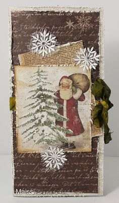 Wonderful Christmas card..love the distressed edges and the ribbon!  005 by Maissi, via Flickr