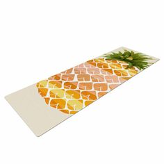 "Judith Loske ""Happy Pineapples "" Yellow Gold Yoga Mat"