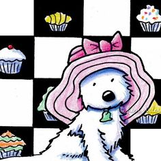 © KiniArt™ - ALL Rights Reserved. Framed ORIGINAL Westie Terrier Dog ACEO Cupcake Art by KiniArt, $60.00