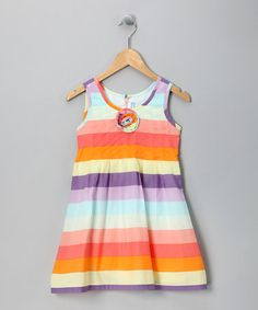 Take a look at this Pastel Stripe Rosette Dress - Girls by Willoughby on #zulily today!