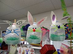 milk jug bunnies...my mom always made these for us when we were kids
