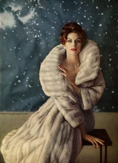 Oh for the days when fur & cigarettes were guilt free! Raw Terre Extraordinary All Natural Skin & Hair Care is guilt free! Good to you & good for you! www.rwterre.com #Beauty Fashion of the 1950s