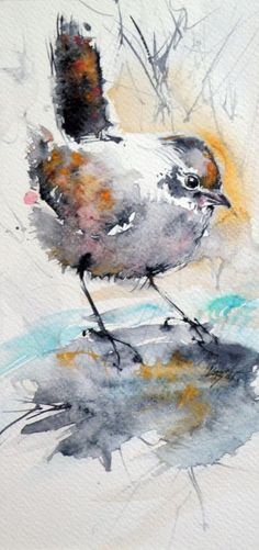 ARTFINDER: Bird by Kovács Anna Brigitta - Original watercolour and ink painting on high quality watercolour paper. I love landscapes, still life, nature and wildlife, lights and shadows, colorful si. Watercolor Animals, Watercolor And Ink, Watercolor Paintings, Landscape Watercolour, Bird Paintings, Watercolor Pencils, Watercolours, Art Aquarelle, Bird Drawings