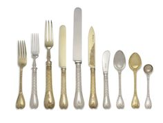 Palm pattern - A VICTORIAN SILVER AND SILVER-GILT PART FLATWARE SERVICE  MOST MARK OF GE