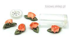 różyczki satynowe z materiału - morelowe