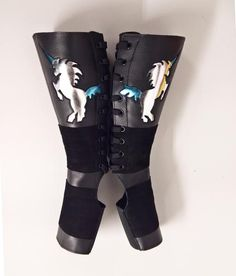 f321a0ba9 Black Aerial boots w/ Silver & Blue metallic UNICORNS - Handmade to order  by Isabella. Isabella Mars