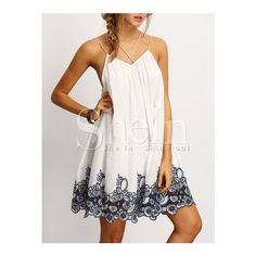 SheIn(sheinside) Black Spagetti Strap Flower Embroidered Accent Dress (£18) ❤ liked on Polyvore featuring dresses, white, white dress, white embellished dress, white sleeve dress, applique dress and short dresses