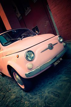 Pink Fiat! This just made my day.