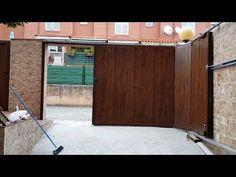 House Fence Design, Fence Gate Design, Front Gate Design, Garage Door Design, Wooden Door Design, Garage Doors, Slider Door, Sliding Gate, Front Gates