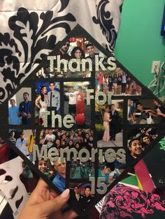 Picture montage on graduation cap. (thanks for the memories)