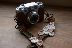crochet camera strap - no pattern, just picture for color reference/pattern ideas Camera Strap Cover, Camera Case, Pattern Ideas, Pattern Art, Crochet Camera, Colorful Pictures, Fiber Art, Crochet Projects, Crochet Necklace