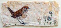 Wren fabric collage by Mandy Pattullo