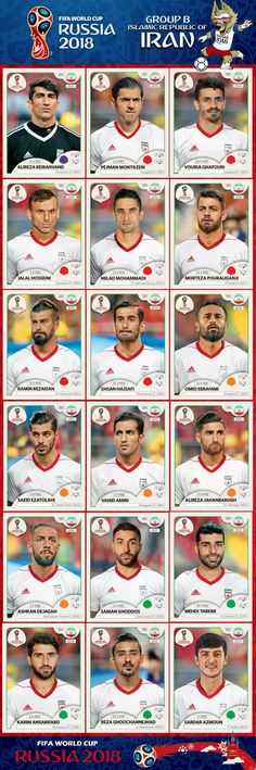 # Panini Stickers # Iran National Team FIFA World Cup 2018 footandball. Iran National Team, Iran National Football Team, Iran Football, Uefa Football, Brazil Football Team, Football 2018, Best Football Team, Iran World Cup, World Cup Russia 2018