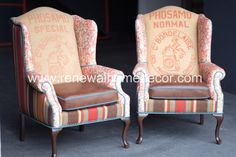 "Custom Order - Vintage Upholstered Wingback dining chairs ""Lara's French Sunset Wingbacks"" - SOLD - Price per Chair by ReNewalHomeDecor on Etsy https://www.etsy.com/listing/233432154/custom-order-vintage-upholstered"