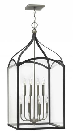 """Hinkley Lighting - Clarendon 3418DZ Two Tone Nickel and Black (20"""" W x 44"""" H) - Too large and a little more modern looking."""