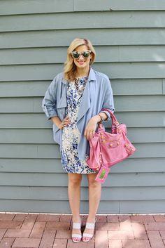 Bijuleni | Floral blue pattern dress, baby blue drapped jacket and blush Balengiaga Town Bag