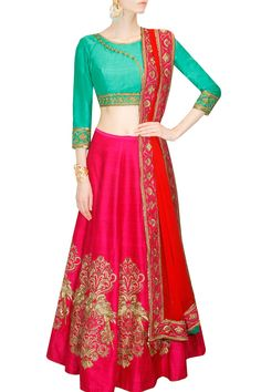 Buy magenta with hegemonic embroidery & resham work designer lehenga choli online.This set is features a green blouse in raw silk embroidery and sequins work.It has matching magenta lehenga in raw silk with beautiful embroidery all over and red dupatt Pink Lehenga, Bridal Lehenga Choli, Ghagra Choli, Wedding Lehnga, Wedding Wear, Salwar Kameez, Dresser, Lehenga Choli Online, Latest Designer Sarees