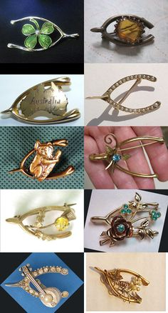 """from The Sexy Witch blog: """"The wishbone is symbolic of good luck and has been popular since the Victorian period. Wishbone brooches were popular as memento or Mizpah jewellery. As this site says, """"Since [the Victorian/Edwardian period] was an era of great exploration and travel over vast distances, many pieces of Mizpah jewellery was made"""": so we find examples with national symbols attached, as above left (clover-leaf for Ireland, map of Australia and Koala for Australia, thistle for…"""