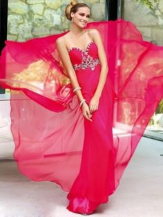 Chic Sweetheart Beaded Appliques Red Chiffon Floor Length Sexy Maxi Dresses