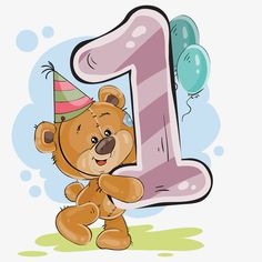 This PNG image was uploaded on February pm by user: wetgfhpod and is about Animals, Arabic Numerals, Balloon, Balloon Cartoon, Boy Cartoon. 1 Year Birthday, 1st Birthday Cards, Birthday Clipart, Happy Birthday Wishes, Tatty Teddy, Teddy Bear, Clipart Baby, Bear Cartoon, Cute Cartoon