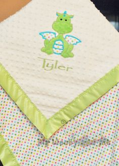 Personalized baby Blanket - Minky baby Blanket - You Choose Fabrics and Colors - Applique Dragon and Name Included - Size Choice