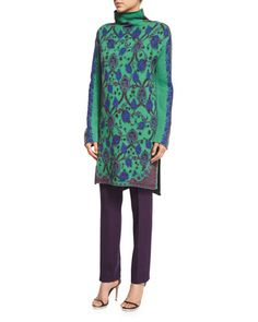 ETRO Long Knit Mock-Neck Sweater, Green. #etro #cloth #