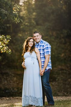Beautiful expecting mother in a blue maternity gown with her husband in jeans and a blue plaid button down shirt in beautiful light in a park setting in this maternity portrait taken by Nature's Reward Photography. Maternity Photography Props, Maternity Poses, Casual Maternity, Maternity Portraits, Maternity Pictures, Pregnancy Photos, Photography Tips, Pregnancy Photography, Newborn Photos