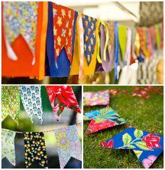 Decoração de festa junina com bandeirinhas de pano estampadas