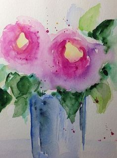Flowers Art Print featuring the painting Two Pink Flowers by Britta Zehm