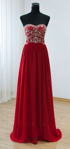 Red Chiffon Prom Dress,Beaded Strapless Evening Dress, Floor Length Prom Dress
