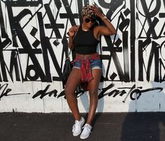 #Turban #Turbanstyle #Cutoffs #Jeans #Denim #Shorts #Plaid #Leopardprint #chucks #Converse #Fringe