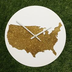 Wall Clock - Map USA - Clock Glitter Gold Color - Gift for your love White Clock Hands