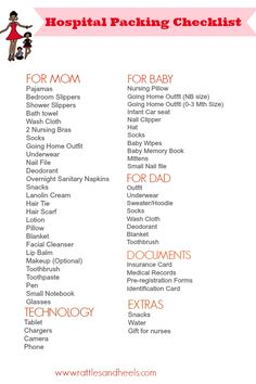 Packing List For Hospital or Birthing Center | Free Printable
