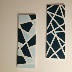 Tableaux abstraits géométriques 60x20 - peinture acrylique sur chassis toile de coton