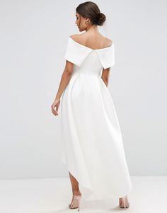 Image 2 of ASOS Off The Shoulder Bardot Scuba Dip Back Maxi Dress