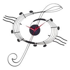 Music G Clef Metal Wall Clock, Black
