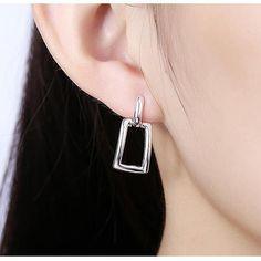 Mode AAA Cubique Zircon Boucles D'oreilles Pour Les Femmes Argent plaqué Géométrique Carré Forme Boucles D'oreilles Bohème De Mariage Boucle D'oreille