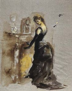 The design for Violetta in Act I  (La Traviata at La Scala). Lila de Nobili saw her as a lonely figure seeking warmth and accordingly dressed her in black.