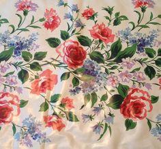 Markwood Everglaze Fabric Polished Cotton Chintz 7 Yds Floral VTG 1940s Opulent $149.95
