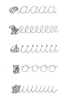 Trace the Dotted Lines Worksheets for Kids - Preschool and Kindergarten Cursive Alphabet, Cursive Handwriting, Handwriting Worksheets, Tracing Worksheets, Alphabet Worksheets, Kindergarten Worksheets, Teaching Cursive Writing, Preschool Writing, Pre Writing